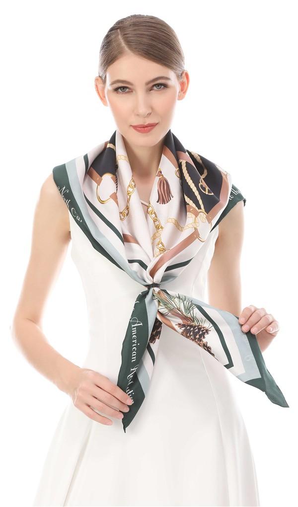 Custom print on the silk head scarf logo design gift