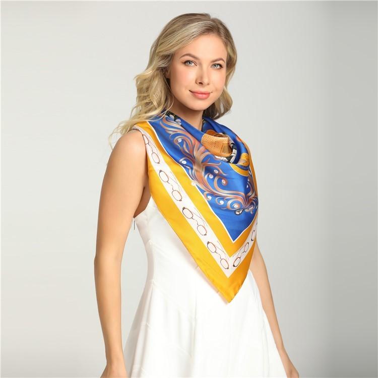 Custom logo head silk scarf gift bulk