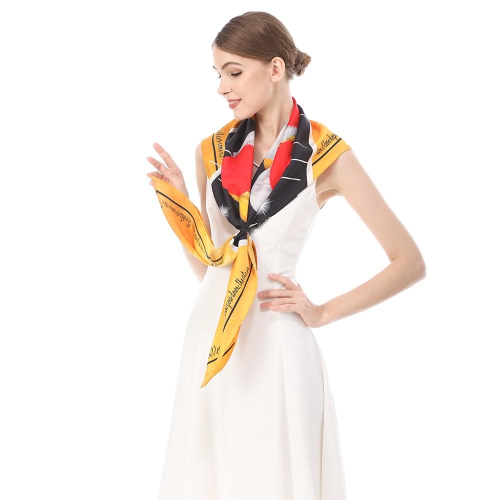 Scarf factory custom silk head scarf logo printing gift bulk