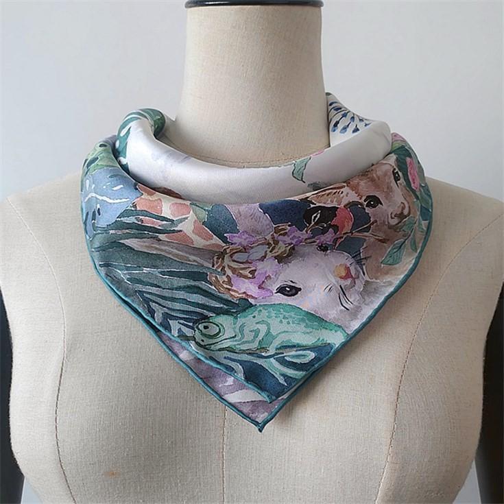 Silk scarf manufacturer wholesale custom silk head scarves with logo