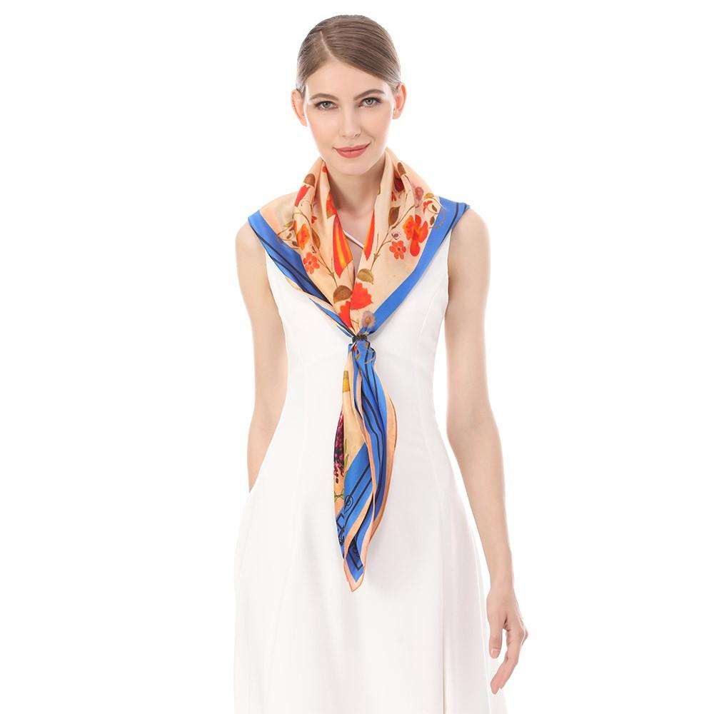 Wholesale custom design digital printed silk head scarf