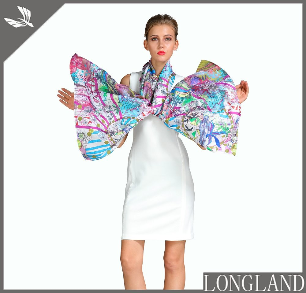 Scarf factory custom photo printed chiffon scarves