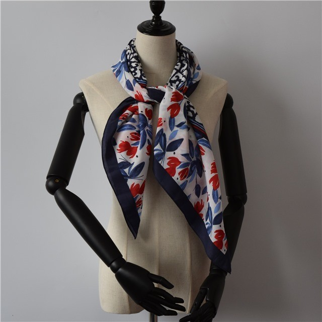 Scarf factory custom square silk bandana scarf