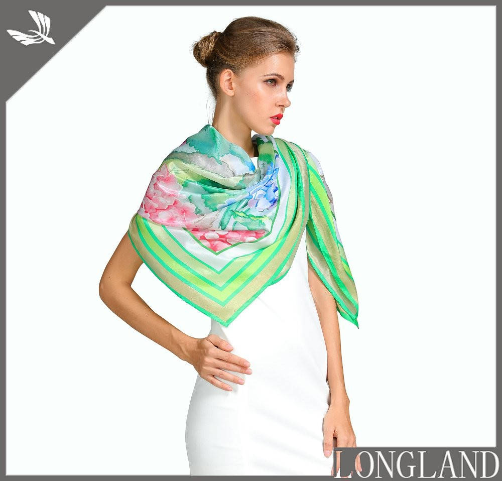 Scarf factory digital printed square silk scarf