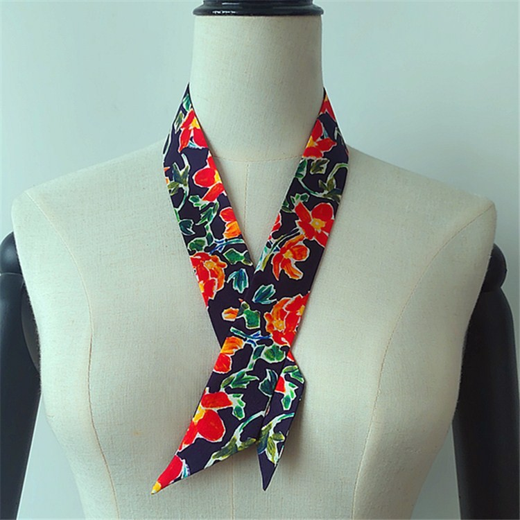 Scarf printer custom photos on the 14 mm silk twill ponytail skinny scarf