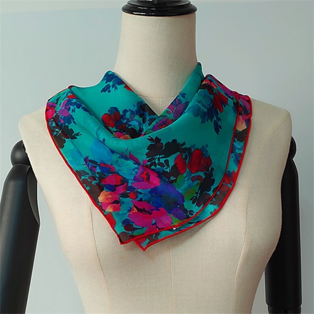 Scarf supplier china custom digital floral printed silk chiffon bandanna scarf