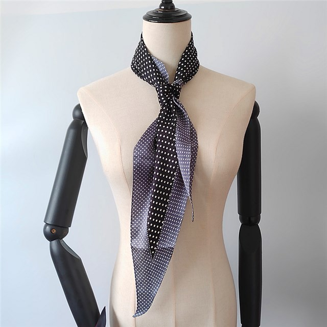 Scarf supplier china screens custom polka dots printed 100% silk neck scarf
