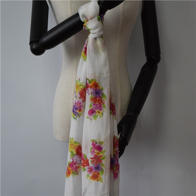 Silk scarf factory custom floral printed scarf