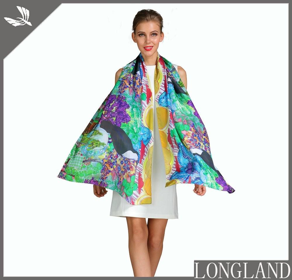 Silk scarf factory custom photo print silk scarves