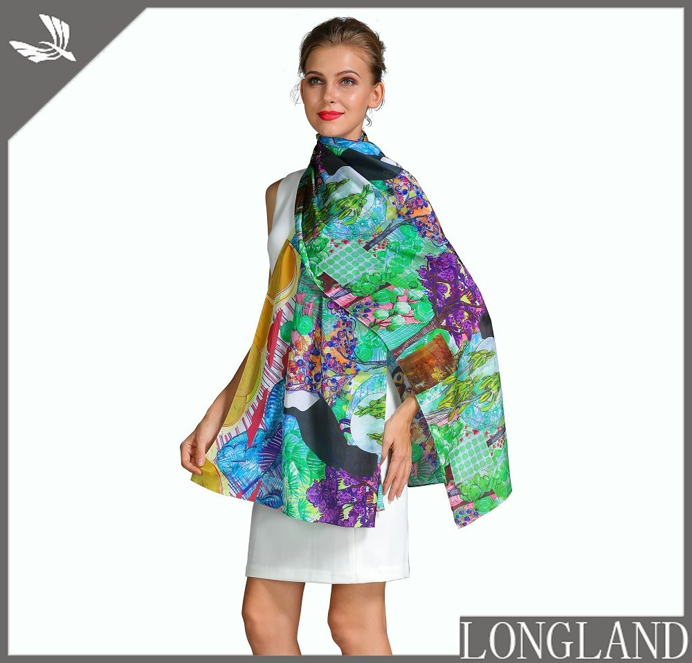 Silk scarf factory custom photo print silk scarves