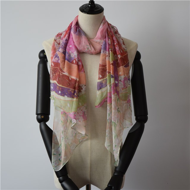 Silk scarf factory custom photo printed scarf