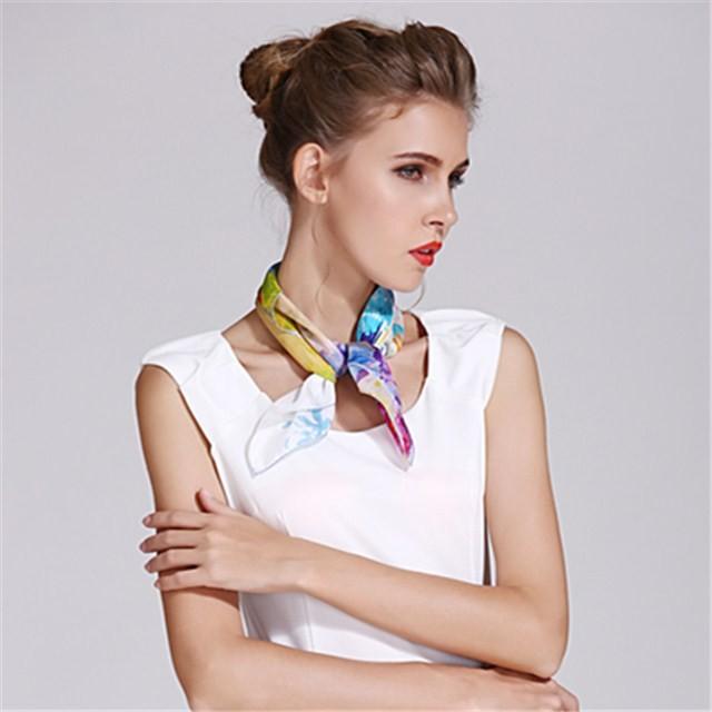 Silk scarf factory customized digital print silk habotai bandanna