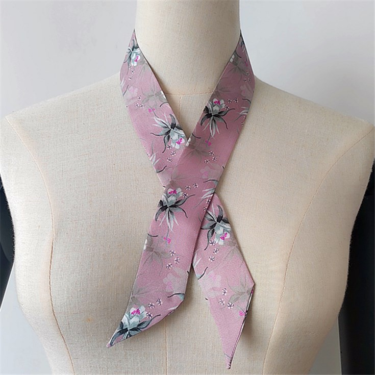 Silk scarf manufacturer digital printed twill hair scarf