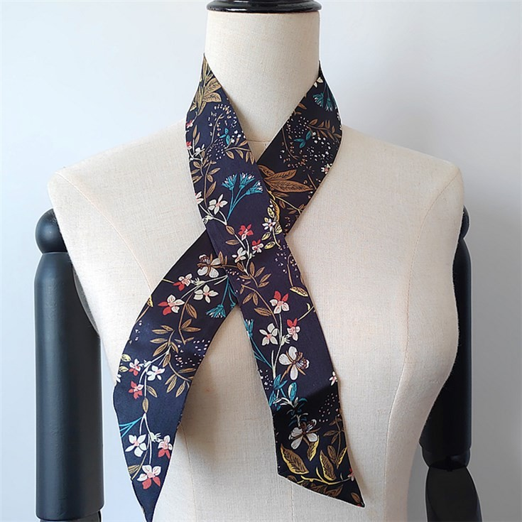 Silk scarf printer custom digital printed bag handle scarf no minimum