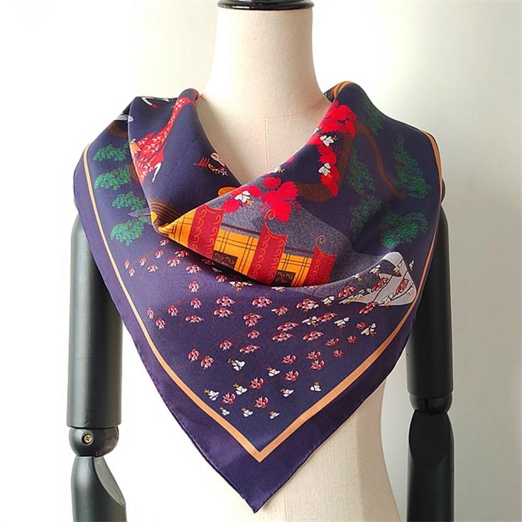 Silk scarf suppliers china custom printed silk twill 14 mm scarves wholesale