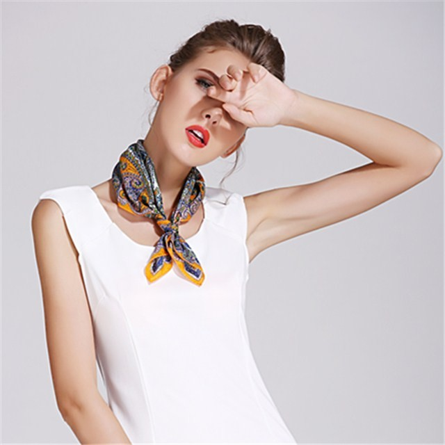 Square size digital printed custom silk habotai scarf bandanna