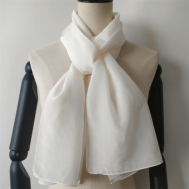 White silk crepe de chine 10 mm scarves wholesale from silk scarf manufacturer