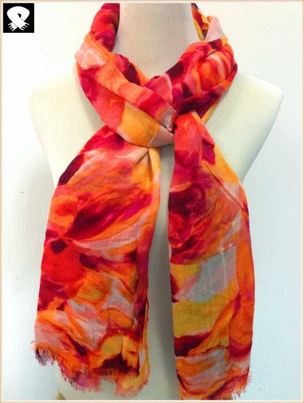Abstract floral scarf in China scarf factory