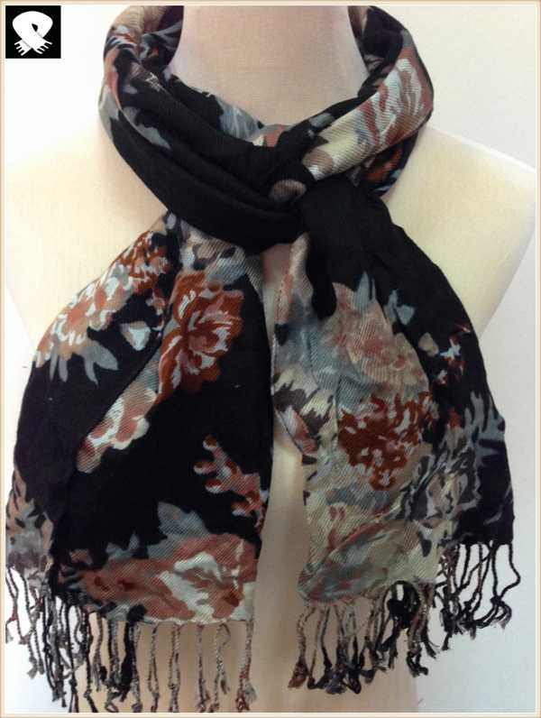 Black floral scarf bespoke in China scarf factory