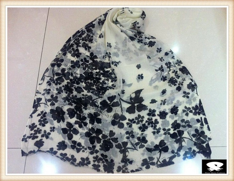 Black flower viscose scarf, more color options