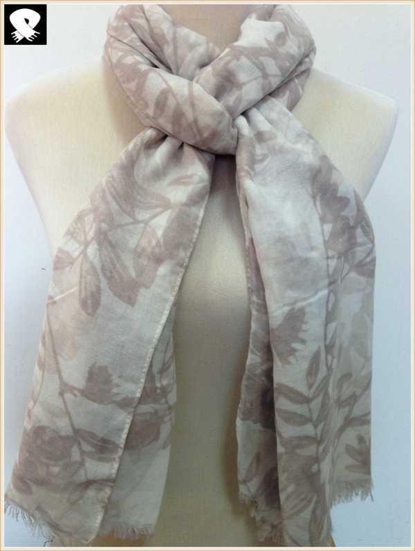 Foliage prints viscose scarf, china scarf factory