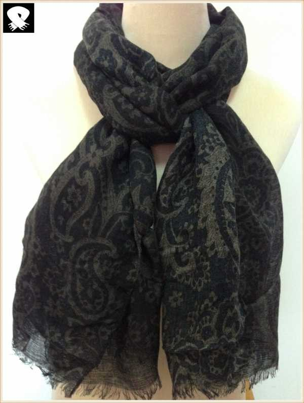 French grey paisley viscose scarf, scarf factory