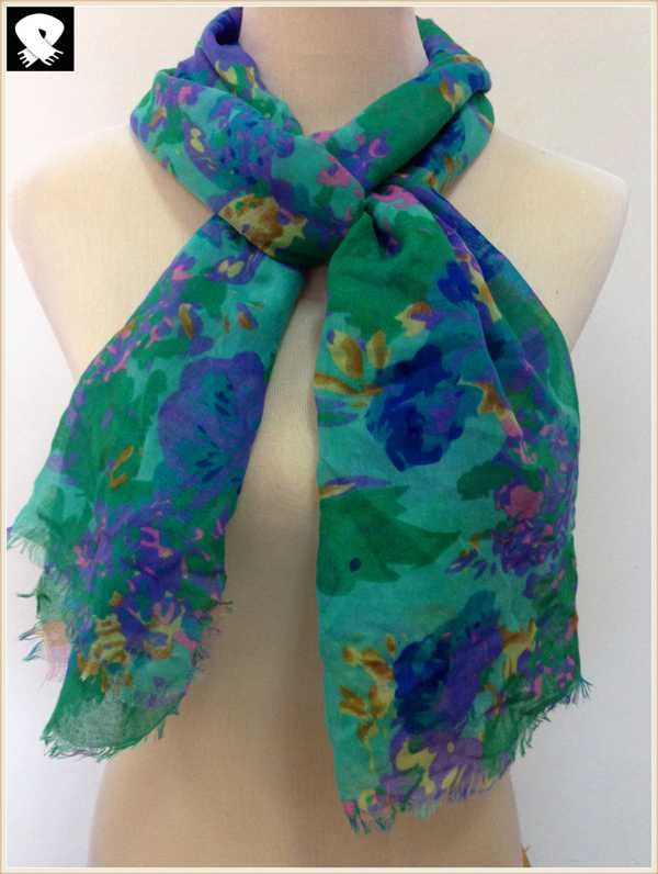 Green and blue flower viscose scarf, scarf factory