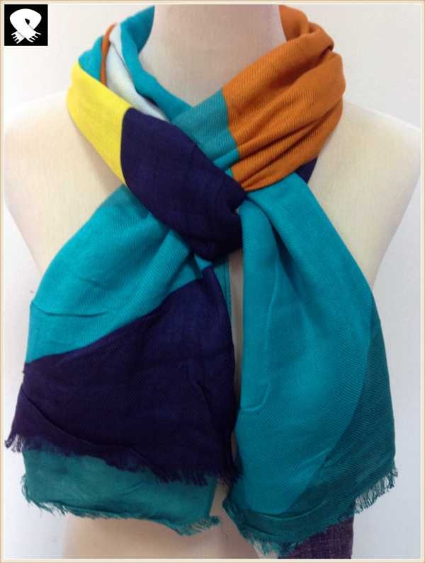 Multi-colors blocks scarf in China scarf factory