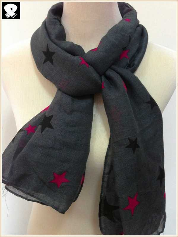 Multi-colors stars scarf in China scarf factory