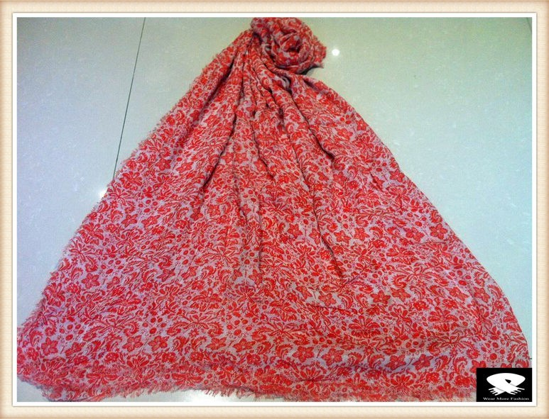 Pink floral viscose scarf