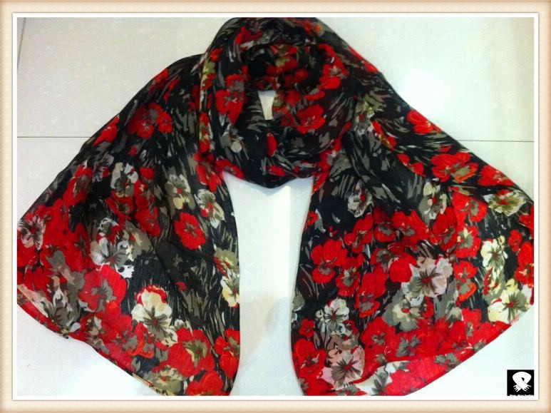 Red and black flower scarf, china scarf factory