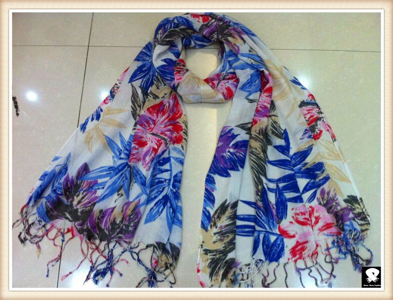 Red floral scarf, china scarf supplier