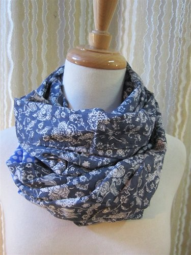Scarf factory, blue florals patterns ladies scarf