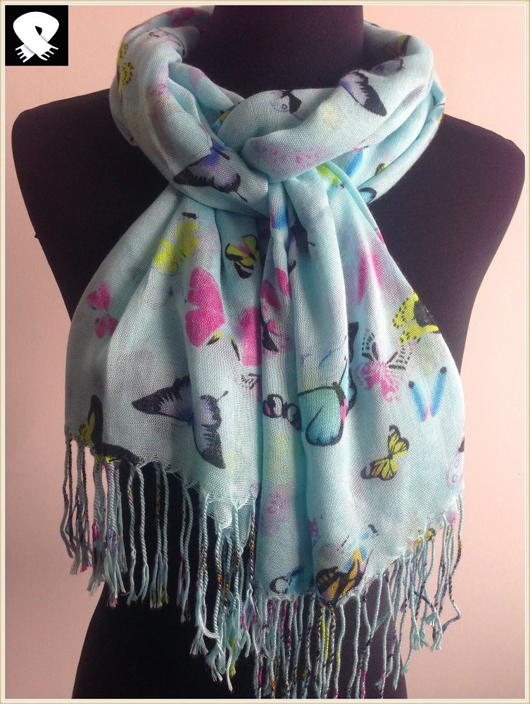 Scarf factory, colored butterfly patterns scarf