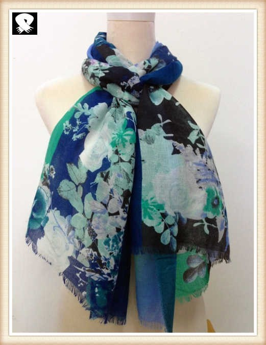 Soft flower viscose scarf, scarf factory