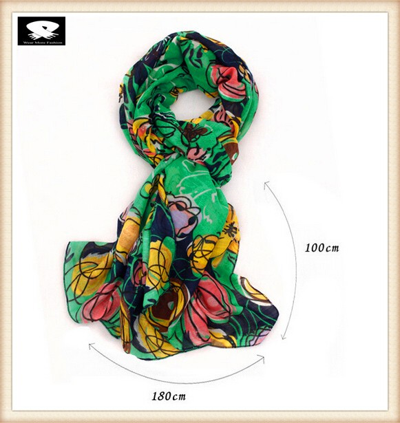 Spring floral viscose scarf in china scarf factory