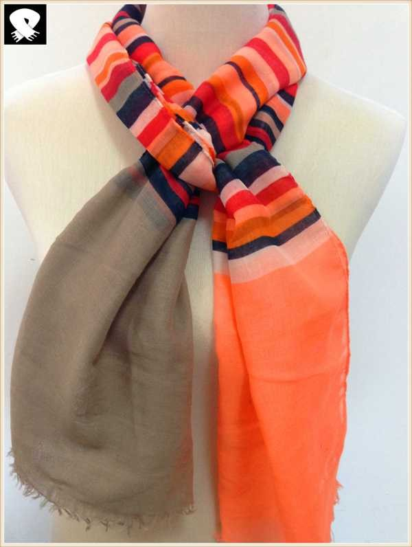 Stylish striped scarf bespoke in scarf factory
