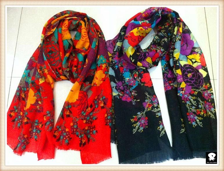 Vivid  viscose scarf, china scarf factory