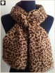 Leopard polyester scarf with frade fringes